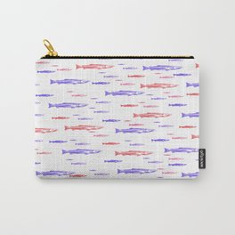 Red and Blue Fish Pattern Carry-All Pouch