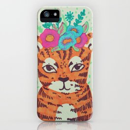 lil' tiger with flowers iPhone Case