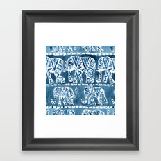 ELEPHANT SAFARI Tribal Indigo Ikat Pattern Framed Art Print