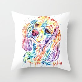 Cocker Spaniel Dog Watercolor Painting By Lisa Whitehouse Throw Pillow
