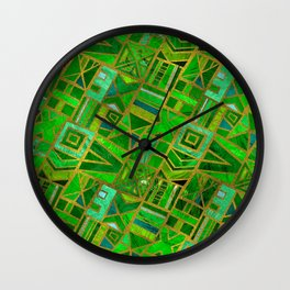 Geometric  Green and Gold African Tribal Pattern Wall Clock