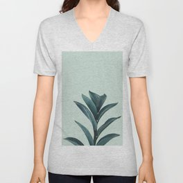 Teal Mint Plant Unisex V-Neck