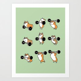 Olympic Lifting Corgi Art Print