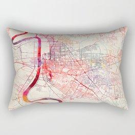 Baton Rouge map Louisiana painting square Rectangular Pillow