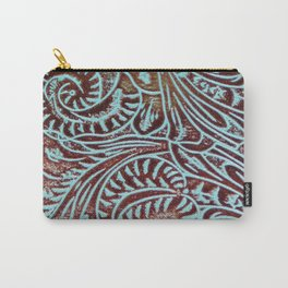 Light Blue & Brown Tooled Leather Carry-All Pouch