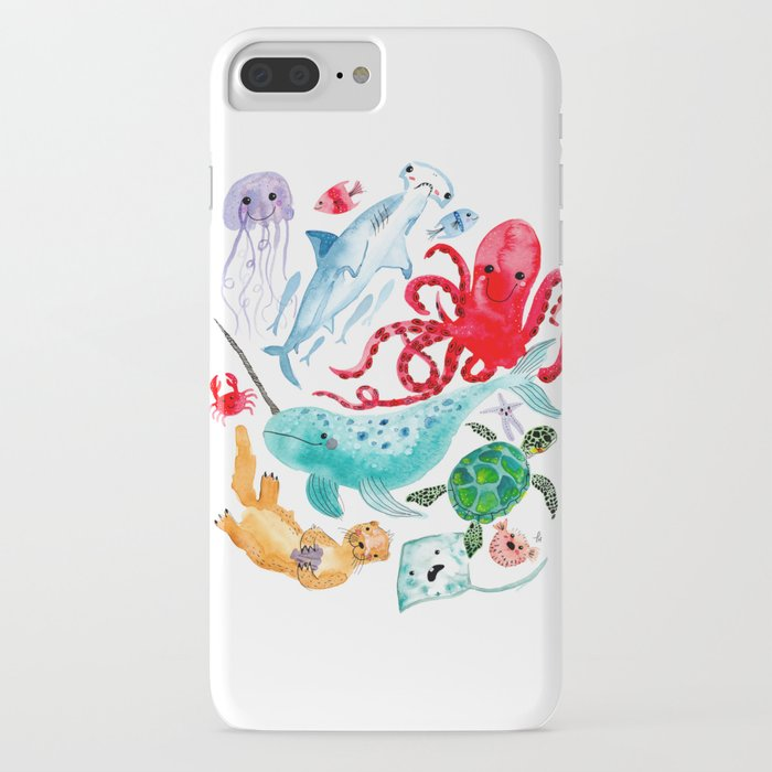 Ocean Creatures - Sea Animals Characters - Watercolor iPhone Case