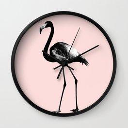 Black Flamingo on Blush #1 #tropical #decor #art #society6 Wall Clock