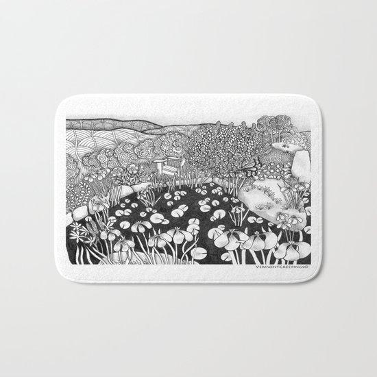 Zentangle Vermont Landscape Black and White Illustration Bath Mat