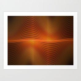 Orange Sine Wave Art Print