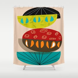 Mid-Century Modern Abstract Half Moons Shower Curtain