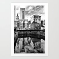 liverpool Art Prints featuring Liverpool Reflection by Caroline Benzies Photography