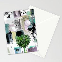 Peinture digitale maison arbres chat oiseau bulles Stationery Cards