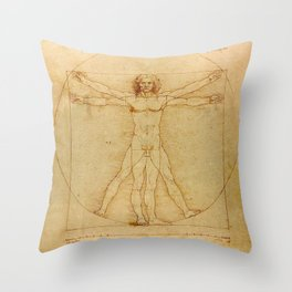 Vitruvian Man, Da Vinci Throw Pillow