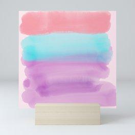 Lavender Pink Teal Artsy Watercolor Colorblock Mini Art Print