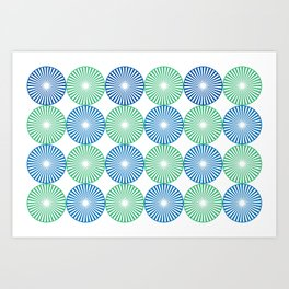 Blue and green circles pattern Art Print