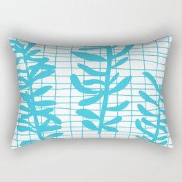 Grid Sprig - aqua blue Rectangular Pillow