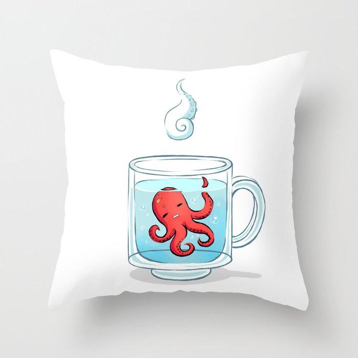 Octopus Tea Throw Pillow