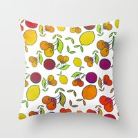 fruits Throw Pillows featuring Fruits by VessDSign