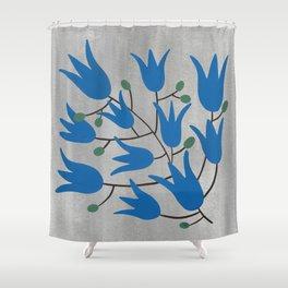 Blue Bell Flowers – Scandinavian Folk Art Shower Curtain