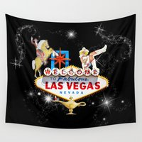 las vegas Wall Tapestries featuring Las Vegas Welcome Sign by Gravityx9