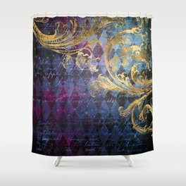 Midnight Harlequin Shower Curtain