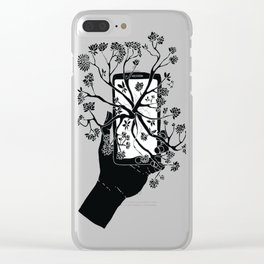 Break Free Cellphone Illustration - Hand holding cellphone growing a tree. Clear iPhone Case