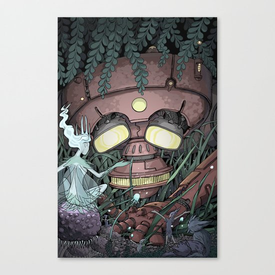 The Robot and the Fairies Canvas Print