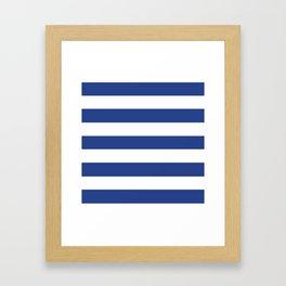 Dark cornflower blue - solid color - white stripes pattern Framed Art Print