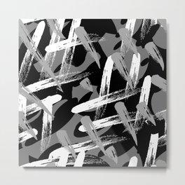 mock graffiti_black white gray Metal Print