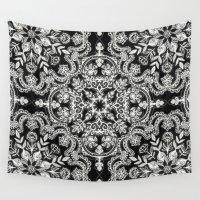 folk Wall Tapestries featuring Black & White Folk Art Pattern by micklyn