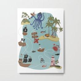 Pirate Treasure Map Metal Print
