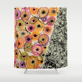 Circles and Flowers- Yellow Shower Curtain