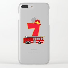 7th Birthday Fireman Firefighter Fire Truck Gift Clear iPhone Case