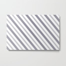 Pantone Lilac Gray and White Stripes Angled Lines Metal Print