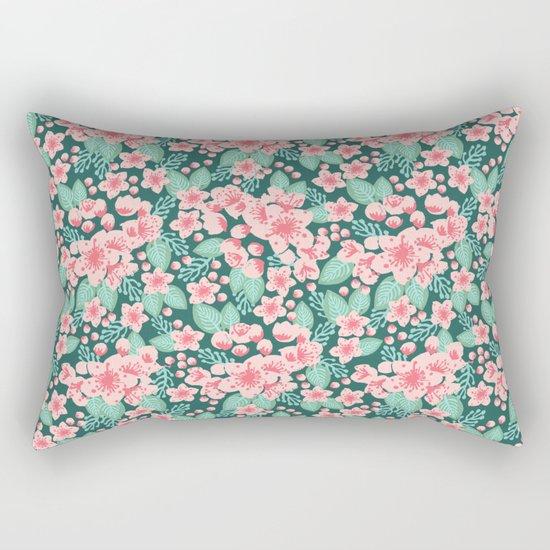 Cherry Blossom spring summer boho floral flower gardening nature botanical nature flowers florals Rectangular Pillow