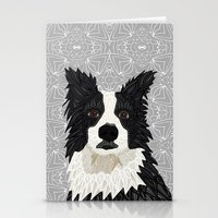 border collie Stationery Cards featuring Beautiful Border Collie by ArtLovePassion
