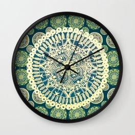 Teal and Gold Variety Mandalas Wall Clock