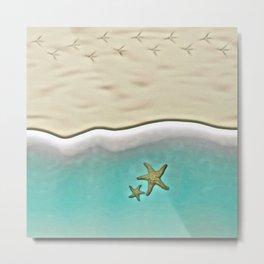 SANDY BEACH & STARFISH Metal Print