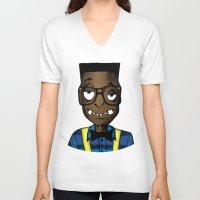 nerd V-neck T-shirts featuring Nerd by DeMoose_Art