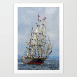 Clipper Ship Three Masted Sails Art Print