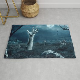 Halloween Bunch Of Creepy Zombie Hands Reaching From Graveyard Ultra HD Rug