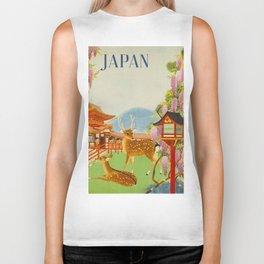Vintage Mid Century Modern Japan Travel Poster Deer Red Pagoda Wisteria Garden Biker Tank
