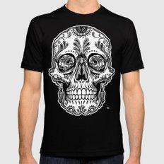 Sugar Skull (Gray) Black Mens Fitted Tee MEDIUM