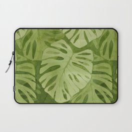 Watercolor Monstera Leaves Laptop Sleeve
