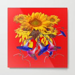 Morning Glories, Sunflowers Red Abstract Metal Print