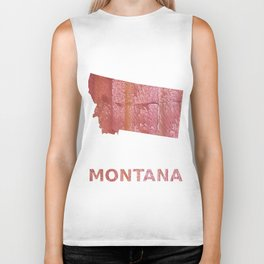 Montana map outline Crimson red nebulous wash drawing Biker Tank