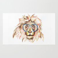 scuba Area & Throw Rugs featuring Scuba Lion by Kristen Williams