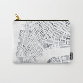 Map Manhattan Gray NYC Carry-All Pouch
