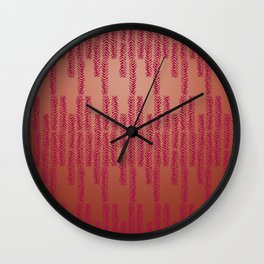 Eye of the Magpie tribal style pattern - dark rose on copper Wall Clock
