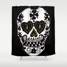 Sugar Skull - Black and White Shower Curtain